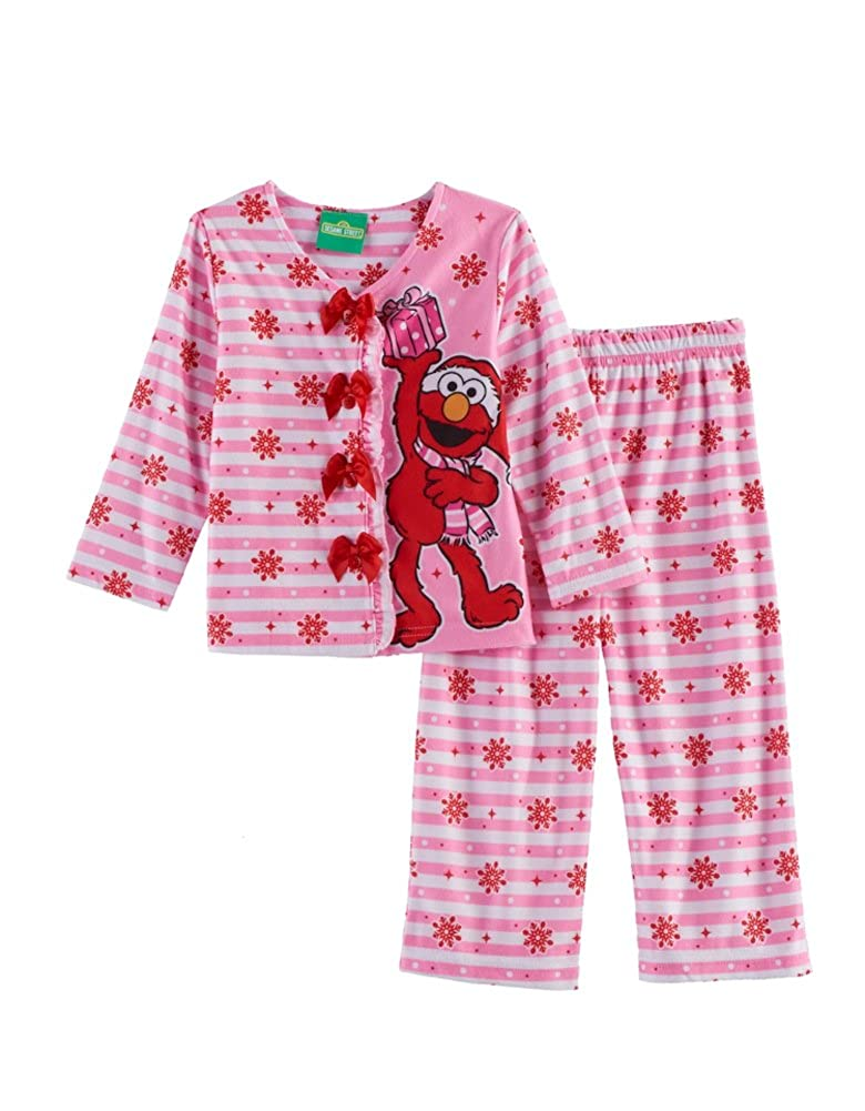 867acd7cd1 Amazon.com  AME Sesame Street Toddler Girls 2-Pc Elmo Top   Pants Pajama Set