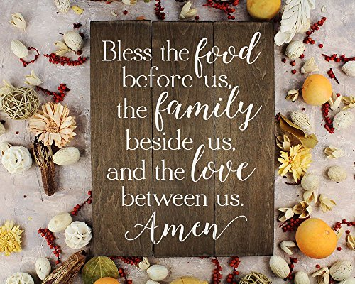 Bless the food before us sign wood sign Kitchen Wall Decor Wood Kitchen Sign Dining Food