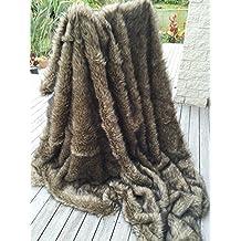 "Starose Wolf Faux Fur Throw Blanket Fake Wolf / Coyote Fur Thorw Blanket 59""x71"" Twin Size Fake Fur Throw Blanket Brown"