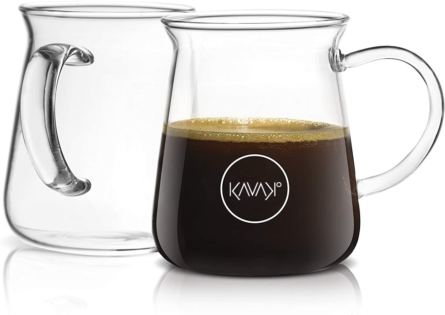 Kavako Borosilicate Glass Coffee Mug – Thermal Shock Proof, Condensation-Free and Specially Designed Rim for Comfort, Set of Two Coffee Mugs – 10 oz. Each