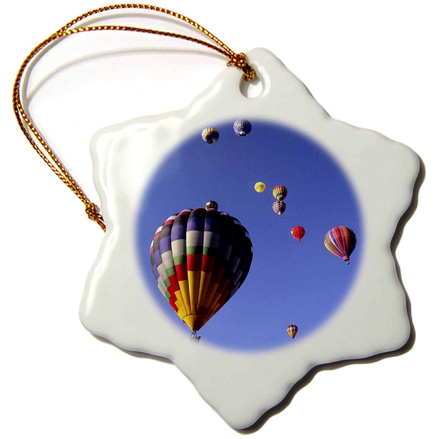 Yohoba Hot Air Balloons Albuquerque New Mexico Bill Bachmann Snowflake Decorative Hanging Ornament Porcelain 3 Inch