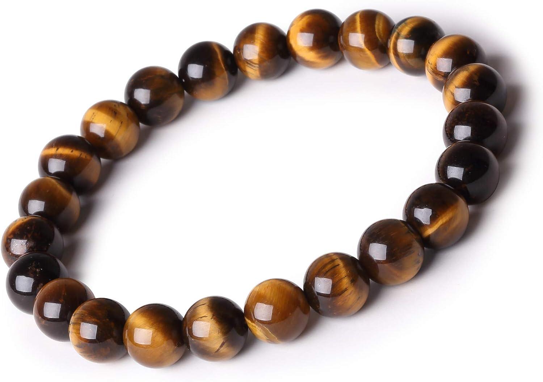 F/ête des M/ères Saint-Valentin Ahokei☂8mm Bracelet en Pierre Naturelle Perles dEnergie Cadeaux danniversaire pour Hommes et Femmes