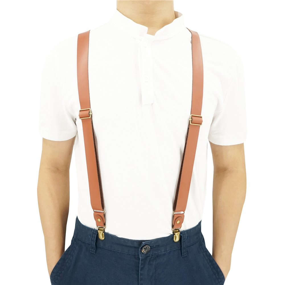 1 Inch Wide Suspenders for men,Soft Cattlehide Split Cow Leather, Caramel England Style, Y-shaped Adjustable 4 Braces Clips