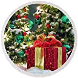 Pixels Round Beach Towel With Tassels featuring ''Christmas Gift'' by Christopher Arndt
