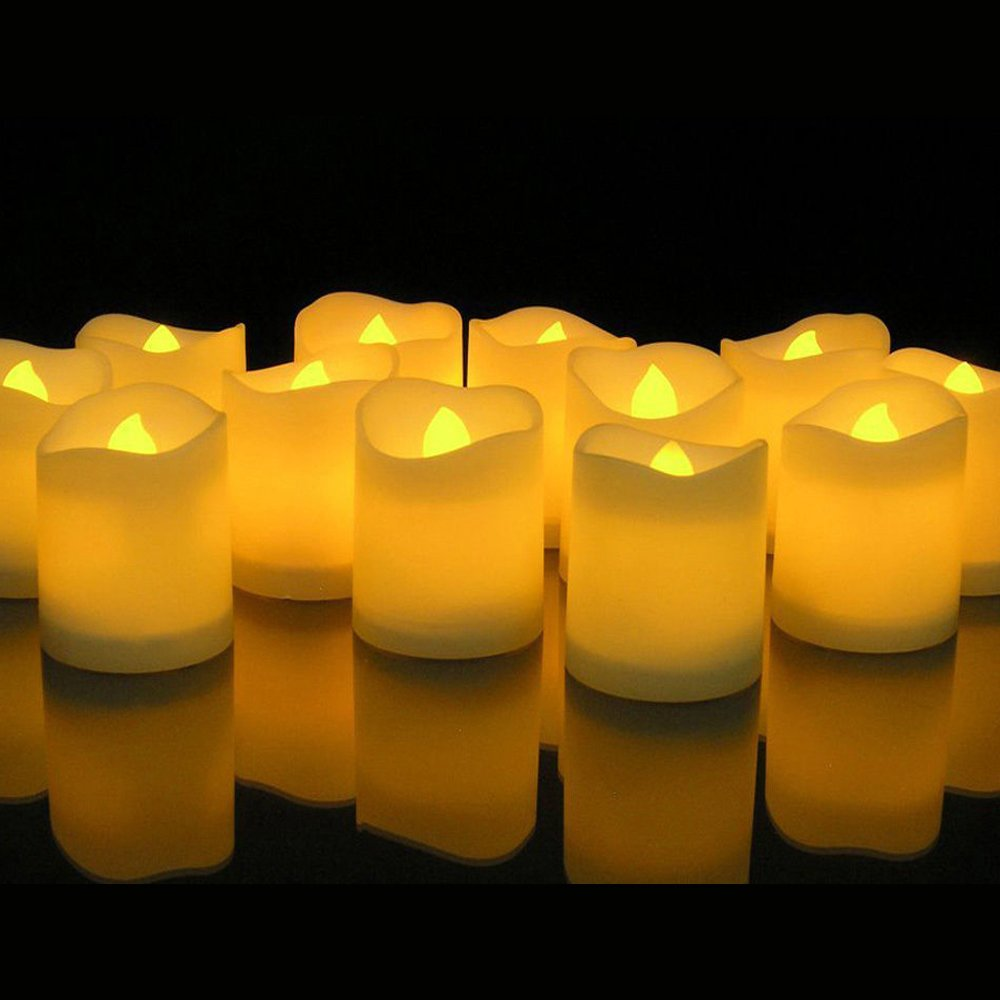 Novelty Place [Longest Lasting Battery Operated Flickering Flameless LED Votive Candles - 1.6'' height (Pack of 24)
