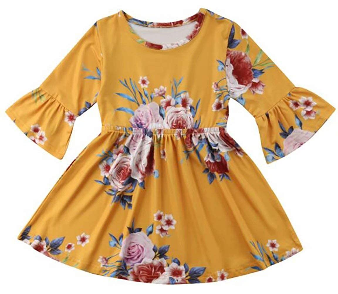 SUPEYA Infant Baby Girls 3/4 Long Flare Sleeve Ruffle Dresses Party Floral Skirt