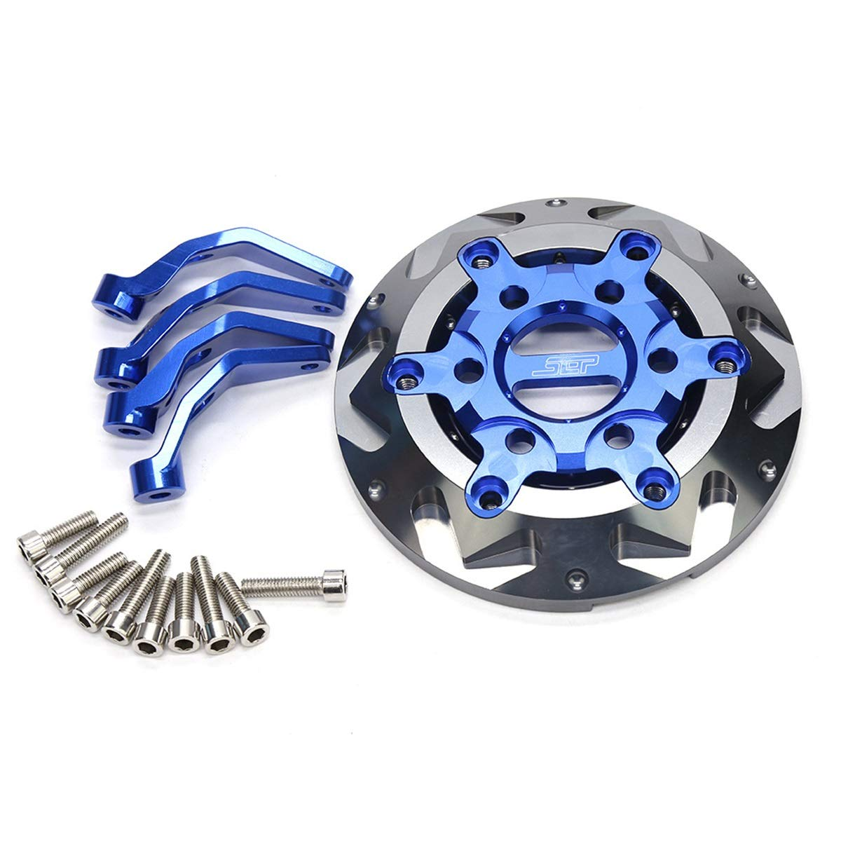 CONGCASE Motorcycle Compatible with Yamaha Smax155 Modified Aluminum Alloy Fan Blade Engine Cover (Color : Blue Titanium) by CONGCASE