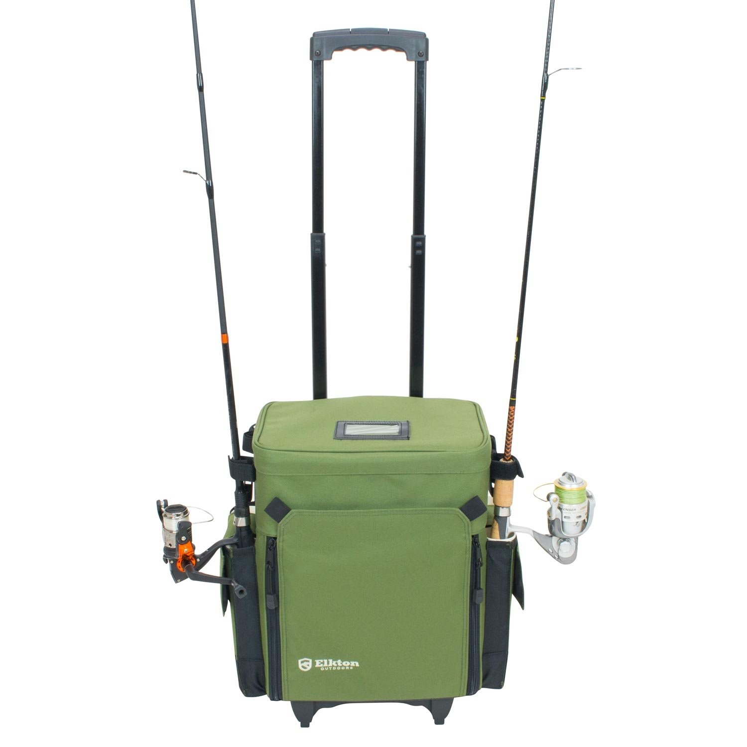 Elkton Outdoors Rolling Tackle Box Green / L 15.7 x W 9.6 x H 18.5 inches / 11 pounds / Waterproof / 5 Retractable Compartments / 4 Rod Holders / Rolling Fishing Tackle Bag / Roller Tackle Box