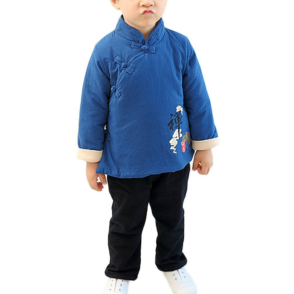 KIKIGOAL Winter Chinese Traditional Kung Fu Outfit Tang Suit for Girls and Boys (90, blue)