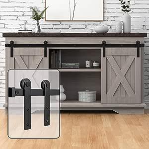 WINSOON 6FT Super Mini Sliding Barn Door Cabinet Hardware Kit for Double Doors TV Stands Small Wardrobe Cabinets, I Shape Hanger (NO Cabinet)
