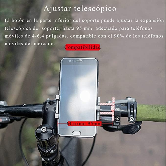 Soporte Movil Bicicleta Aluminio para Tel/éfono Ajustable Soporte de Montaje Bicicleta Tel/éfono Titular 360 Grado Giratorio para 4-6.4 Inch Tel/éfono M/óvil ALODIWEZ Soporte Movil Bici
