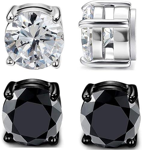 1 Piece Men/'s Stainless Steel Cool Rhinestone Stud Earring 2 Colors