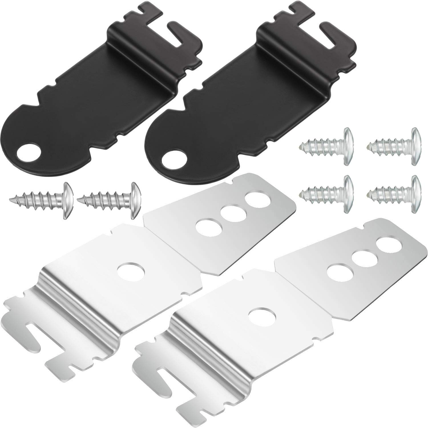Hotop 2 Packs 8212560 Dishwasher Side Mounting Brackets and 4 Packs Black Installation Screws, 2 Packs 8269145 Dishwasher Upper Mounting Brackets and 2 Packs Sliver Installation Screws