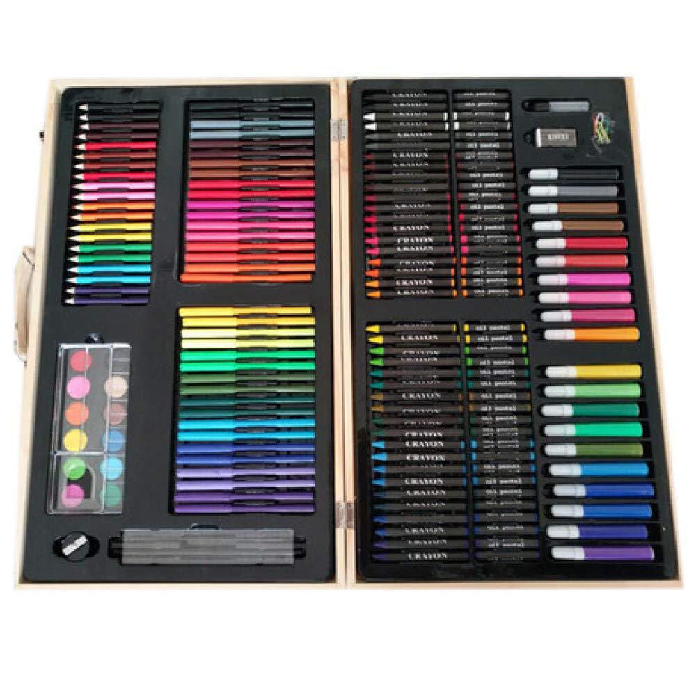 Art JKWL Set da Disegno a Matita Professionale a Colorei Composto da 180 Pezzi tra Cui pastelli, Piombo coloreato, Penna Acquerello, ECC. (Scatola di Legno Nera) Pittura Artistica