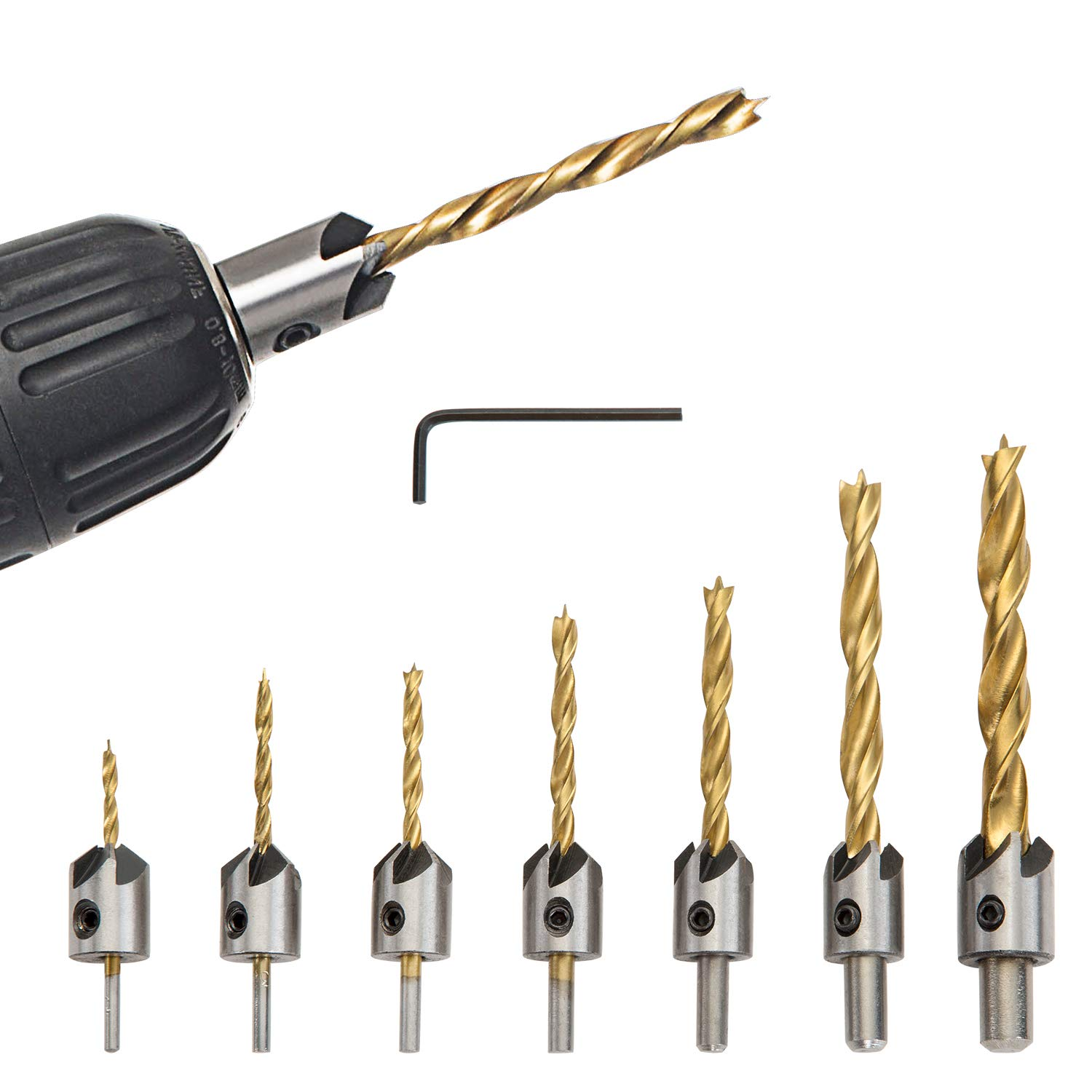Countersink Drill Bit Set 8 Pieces Three Pointed High Speed Steel Drill with One L-Wrench for Wood Drilling or Woodworking Chamfer