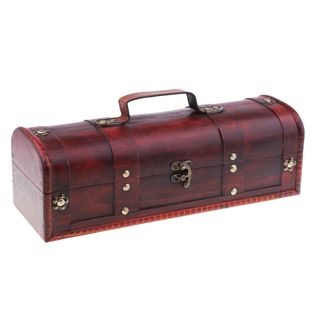MagiDeal Antique Old Style Red Wine Gift Box Retro Wine Storage Gift Case with Lock