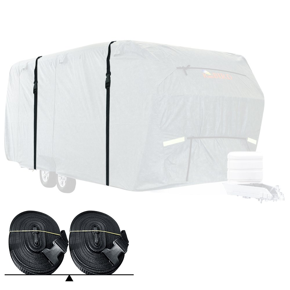 KING BIRD Extra-Thick 4-Ply Top Panel & 4Pcs Tire Covers Deluxe 5th Wheel RV Cover, Fits 29'-33' RV Cover -Breathable Water-Repellent Rip-Stop Anti-UV with Storage Bag (29'-33') by KING BIRD (Image #2)