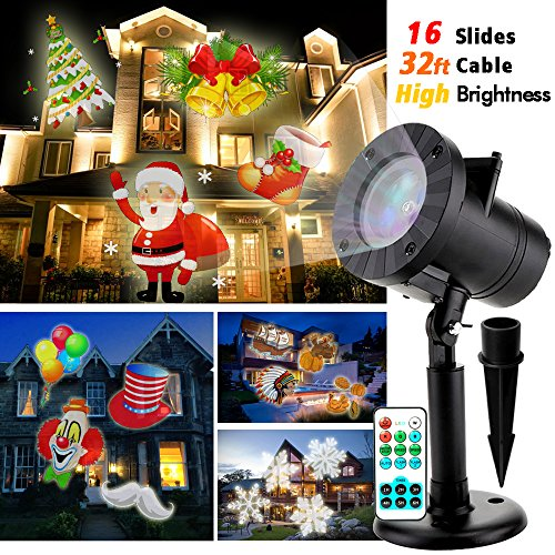 Christmas Projector TESSIN Outdoor Waterproof High Brightness Led Projector Light Show with 32ft Cable amp Remote Control for Christmas Party and Holiday Decoration 16 Patterns