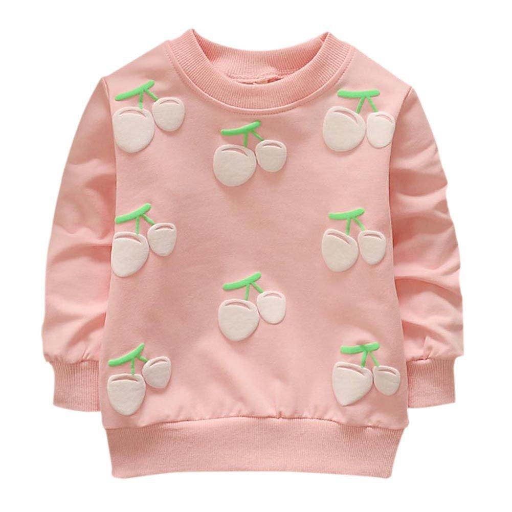 BOBORA Bambine ragazze manica lunga primavera autunno T-Shirt fragola ciliegia stampa felpa BON-IT-1003