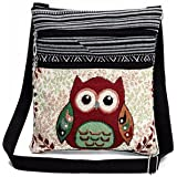Malloom Cute Women Embroidered Owl Tote Bags Women Shoulder Bag Handbags with Strap