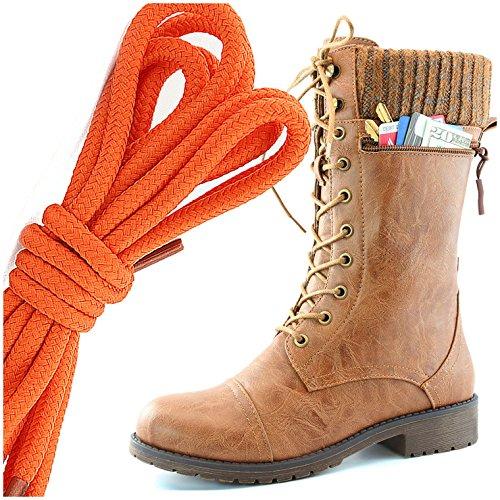 Dailyshoes Womens Combat Stijl Lace Up Enkellaarsje Ronde Teen Militaire Knit Creditcard Mes Geld Portemonnee Pocket Laarzen, Oranje Tan Pu