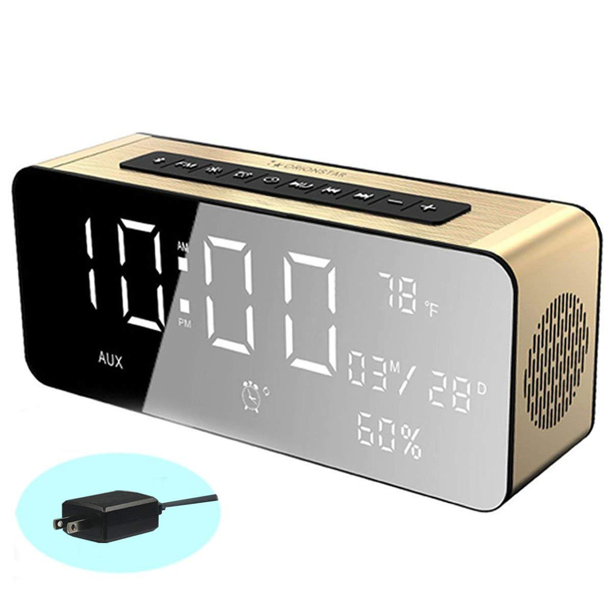 Orionstar Wireless Bluetooth Alarm Clock Radio Speaker with HD Sound&Big Digital Screen Compatible with iPhone/Android/PC4/Aux/MicroSD/TF/USB for Bedroom Office Model A10 with Wall Charger (Gold)