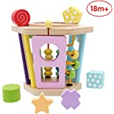ANIKI TOYS Wooden Activity Cube Educational Toys, Multifunctional 5 in 1 Box Play Center Bead Maze Shape Sorter, 1 yr old Toddlers Ideal Gift, Small Size