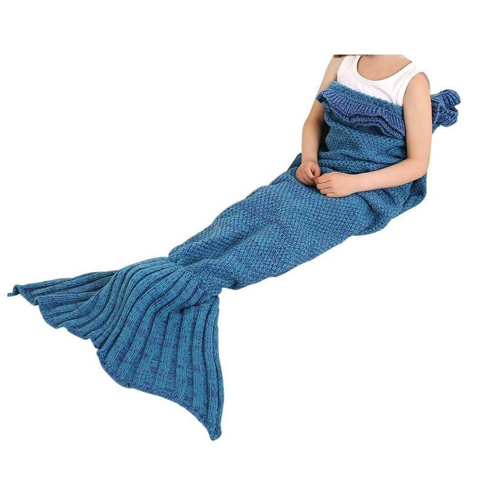 Warm and Soft Cozy Mermaid Tail Living Room Blanket Sofa Throw Couch Sleeping Bag for Kids Adult Teens Pink