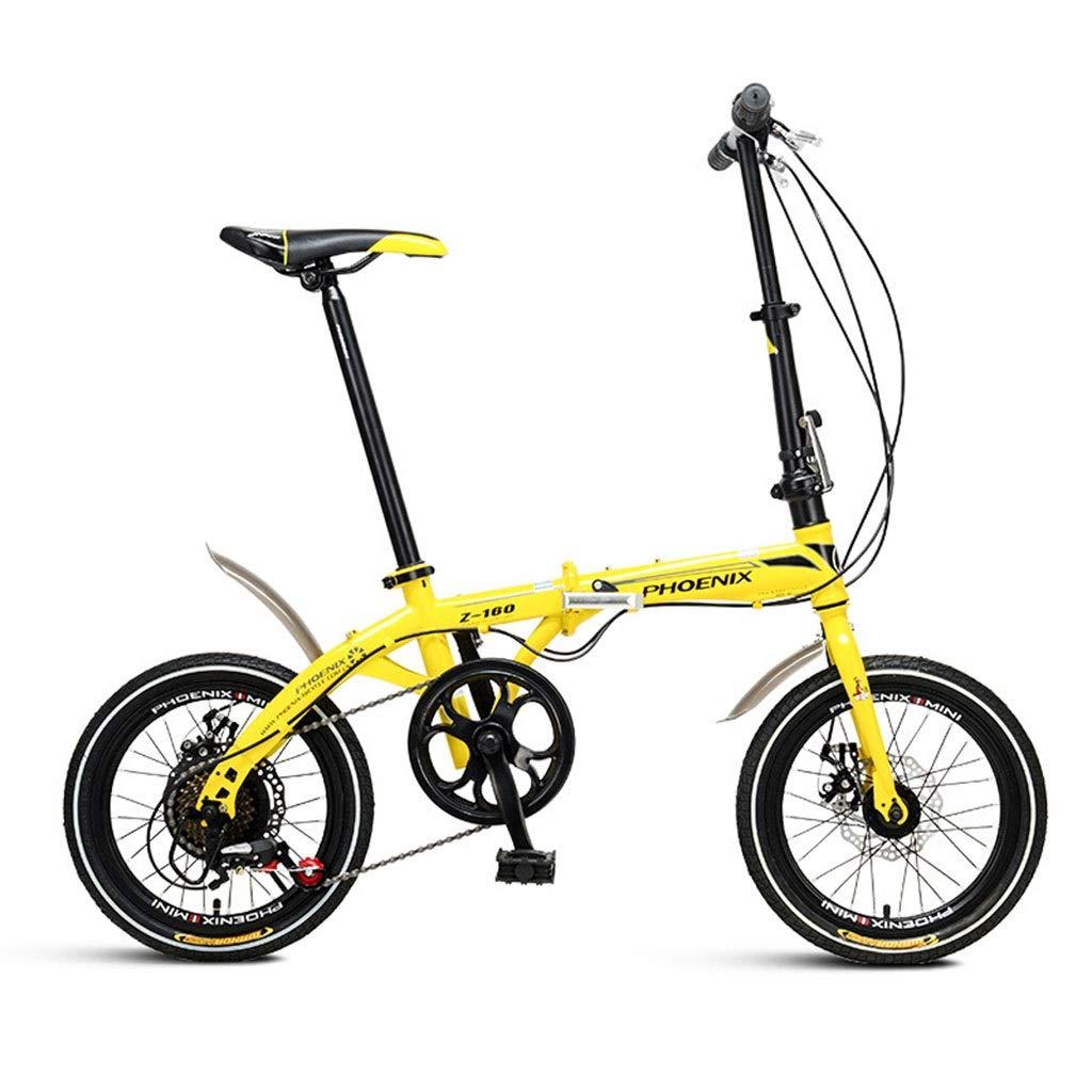 折りたたみ自転車 折りたたみ自転車16インチシフト自転車軽量成人男性と女性折りたたみ自転車ダブルディスクブレーキ折りたたみ自転車 (Color : Yellow, Size : 130*30*83cm) 130*30*83cm Yellow B07PSFQZ9R