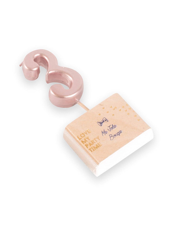 decodefete Candelina Color Oro Rosa Numero 3 Taglia Unica