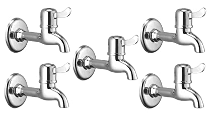 Oleanna Magic Brass Quarter Turn Fittings Long Body Bib Cock Water Taps For Bathroom (Chrome Finish) (Pack Of 5 Pcs)