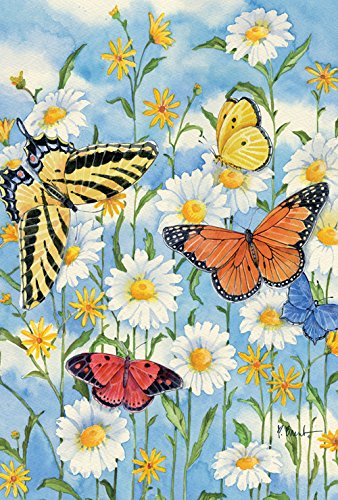 Toland Home Garden 1010004 Butterflies and Daisies 28 x 40 Inch Decorative, House Flag- 28