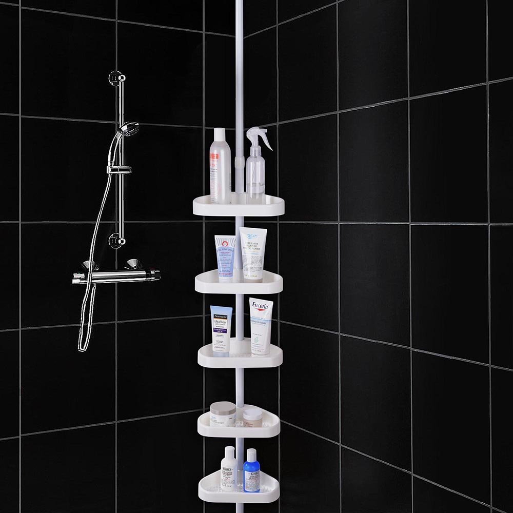 White 5-Basket Bathtub Bathroom Shower Corner Shelf Triangle Wall Shower Caddy Space Shampoo Soap Bath Items Holder by LeeMas Inc