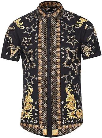 Camisas para Hombre Regular Fit, Botón para Hombre Abajo Camisa Hawaiana Verano impresión Camisa de Vestir Fiesta de Negocios de Manga Corta Camiseta Superior Novedad Discoteca Blusa: Amazon.es: Hogar