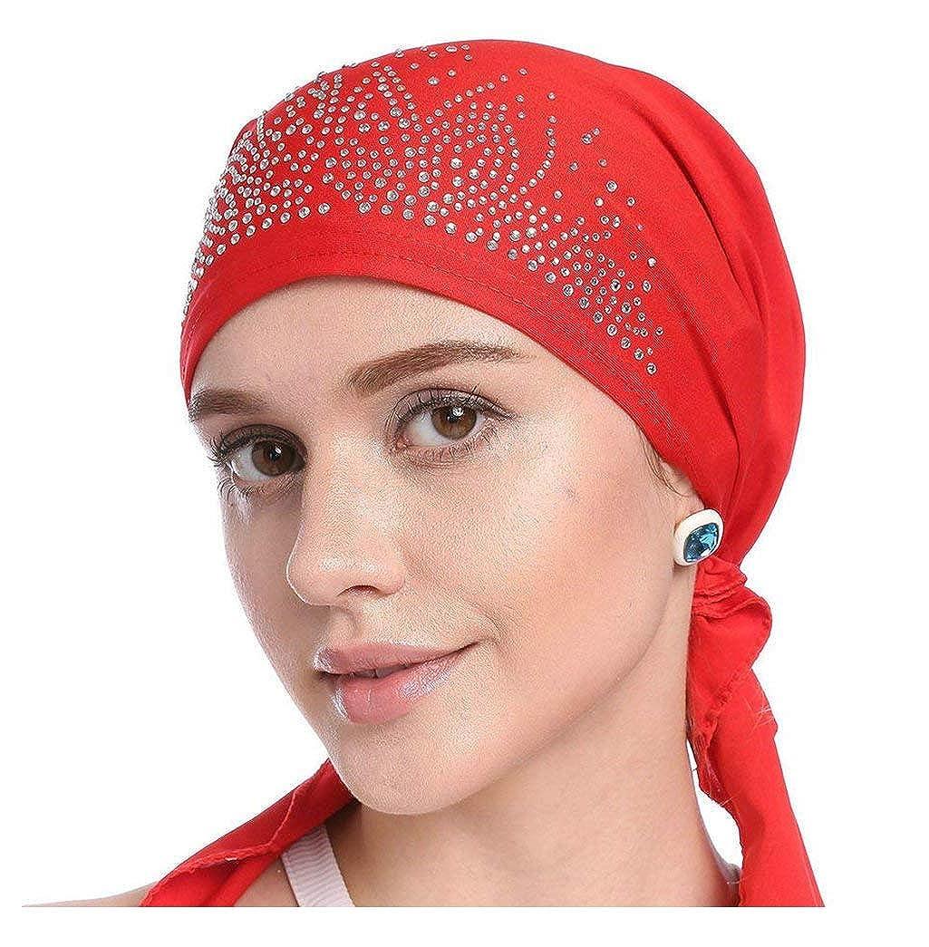 UK/_Stone Damen Unifarben Strasssteine Ethnisch Turban M/ütze Chemo Kopft/ücher Haarverlust Kopfbedeckung