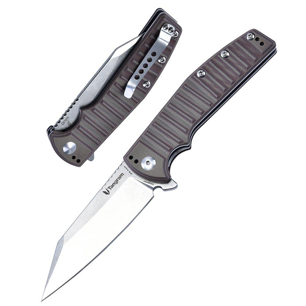 TANGRAM Folding Pocket Knife ACUTO440 Wharncliffe Sharp Blade Liner Lock G10 Handle Flipper Knife,Dirk Pinkerton Orion TG3007A2 by TANGRAM