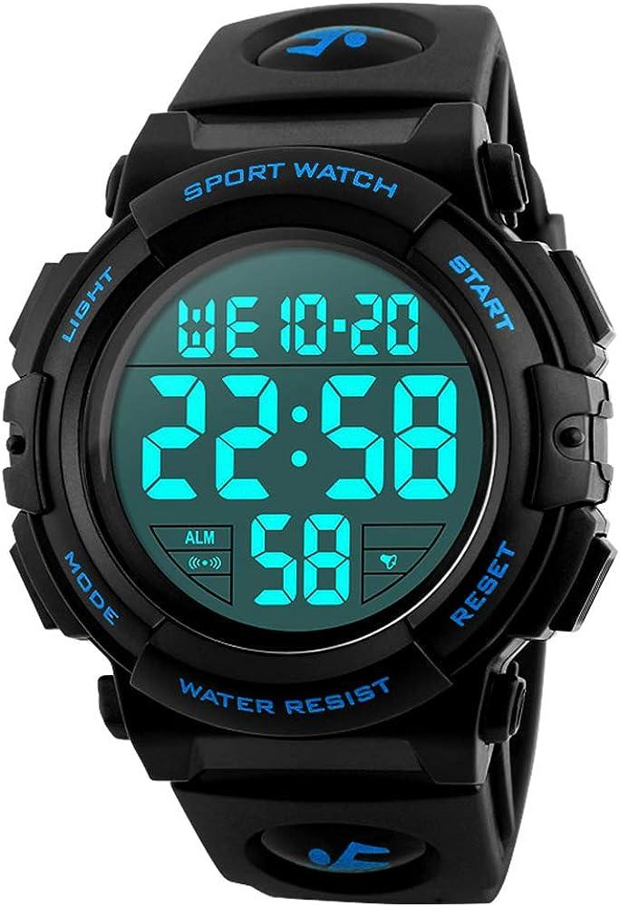 Reloj Deportivo Digital para Hombre, para Uso al Aire Libre o al Hacer Ejercicio, Resistente al Agua a 5 ATM y de Estilo Militar, LED y Alarma