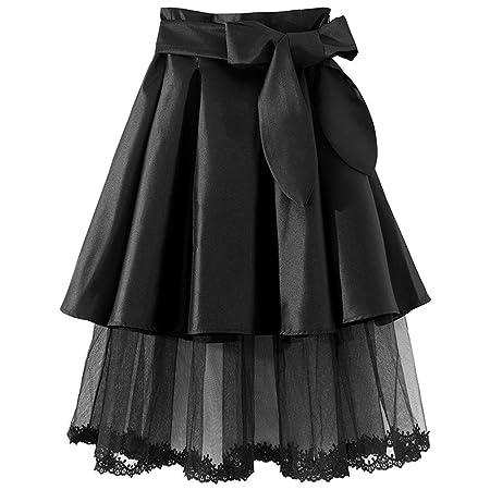 Jxth-clowd Falda Casual de Verano para Mujer Falda Mujer Bow-Knot ...