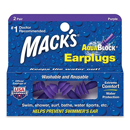 Macks Aquablock Ear Plugs (Mack's AquaBlock Soft Flanged Earplugs, Purple, 2 Pair)