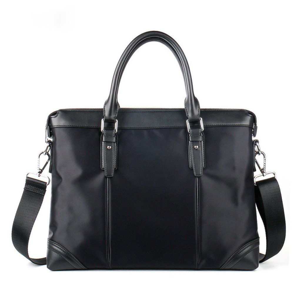 British Style Casual Men's Bag Waterproof Oxford Cloth Handbag Briefcase Shoulder Messenger Bag,Black-L