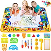 """#LightningDeal Doodle Mat by Aogzze Aqua Magic Water Drawing Doodling Mat with 4 Magic Water Pens and 17 Molds,Educational Toys Gifts for Kids Toddlers Boys Girls Age 3 4 5 6 7 8 Year Old, 39"""" X 28"""" in 6 Colors"""