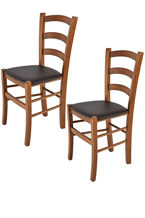 Tommychairs – Juego de 2 sillas clásicas Venice para Cocina, Bar y Sala de  Comedor con Robusta Estructura de Madera de Haya barnizada Color Nogal y ...