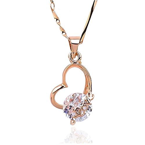 23ce9a3c5143e Amazon.com: NickAngelo's Love Heart Pendant Necklace 18K Rose Gold ...