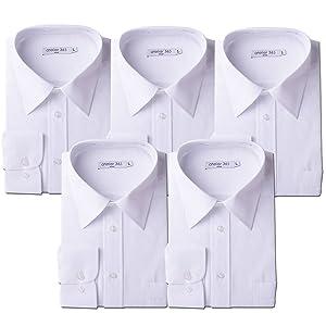 [アトリエサンロクゴ] 白ワイシャツ 長袖 5枚セット 形態安定 ビジネス 冠婚葬祭 at-6041-set メンズ スマートホワイトa 日本M(39-82)(日本サイズM相当)