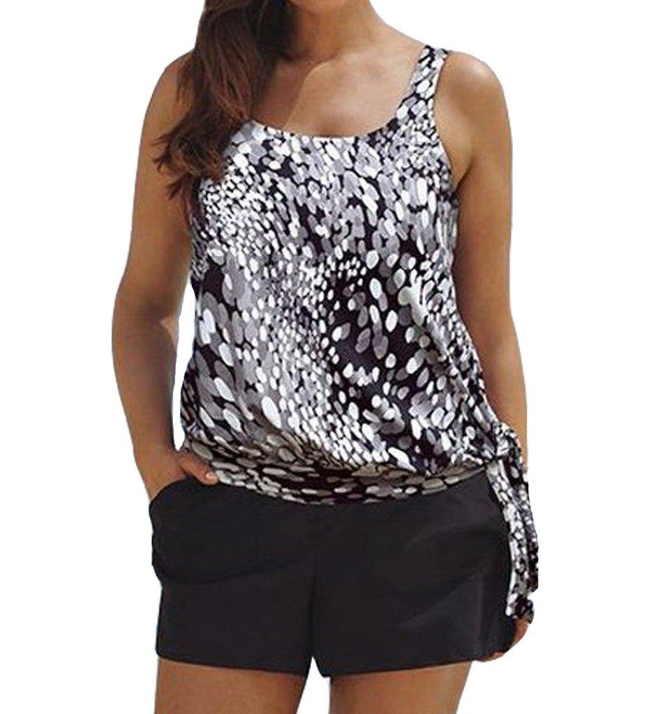 Eternatastic Women Spot Polka Dot Tankini Swimwear Two Pieces Swimsuit Set H-Spot-Tanki