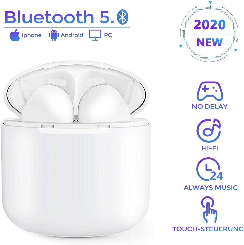 Auriculares Inalámblicos Bluetooth 5.0 Cascos, Mini TWS Sin Cable Cascos In-Ear con Micrófonos Dual, Audífonos Deportivos con Caja de Carga 25 hrs, compatibles con Todos los Auriculares Bluetooth