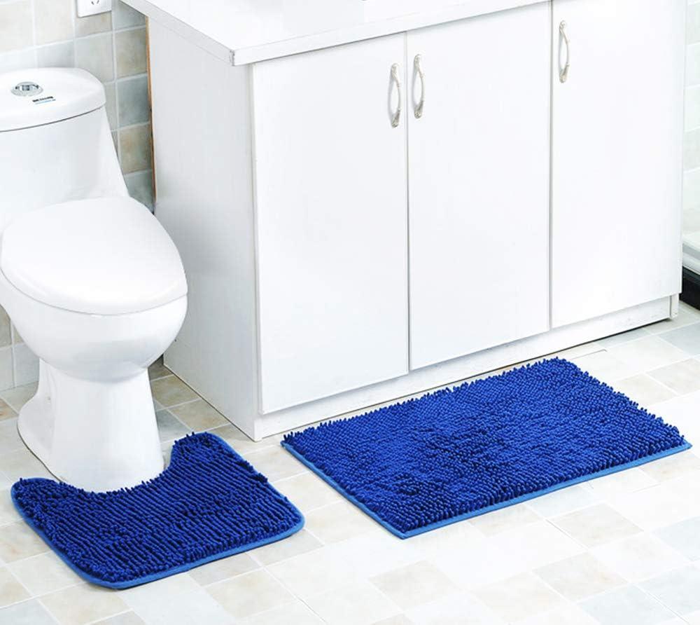 MoYouno 2 Piece Bath Mat Set Non-Slip Pedestal Set Bathroom Mat, Water Absorbent, Bathtub Rug, U Shape Toilet Pedestal Mat, Shower Rugs (Blue)