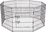 Paws & Pals 8-Panel Folding Wire Exercise Pen with Door for Pets, 64 by 64 by 48''
