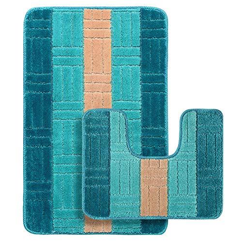 GRAND ERA Bathroom Rug Mats Set 2Piece ToiletCarpet RugsIncludes Contour Mat, Non SlipShaggy mat, Machine Wash/Dry, Plush Mats for Tub Shower (Bright Blue, 39 x 24, 20 x 16 Inches U-Shaped)