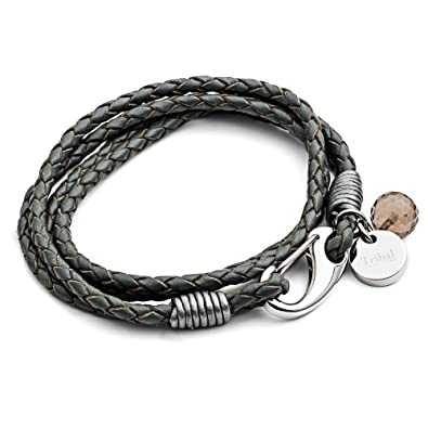 Tribal Steel 20cm Grey Leather 4-Strand Bracelet for Women with SS Shrimp Clasp, Crystal Charm + Disc